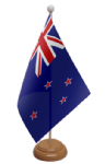 New Zealand Desk / Table Flag with wooden stand and base